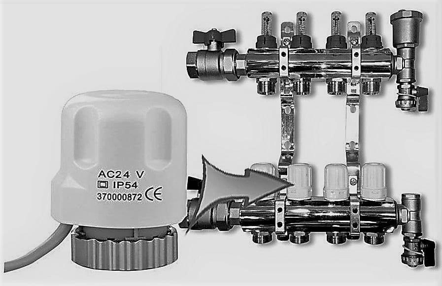 Automatizare pardoseala -- distribuitor cu robineti termostatati, capace închidere-deschidere